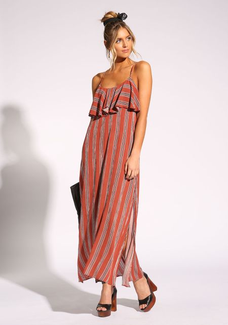 Rust Stripe Ruffle Slit Maxi Dress