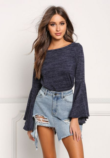 Navy Marled Knit Bell Sleeve Top