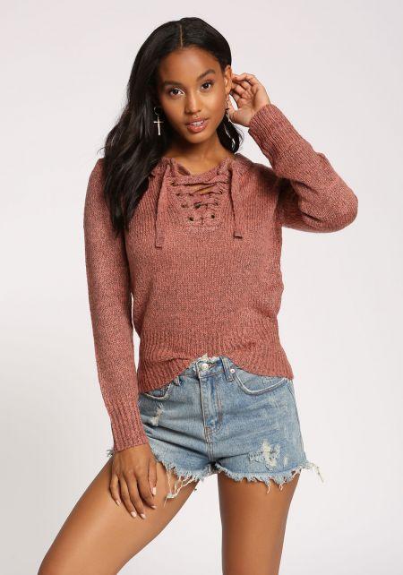Mauve Lace Up Sweater Top