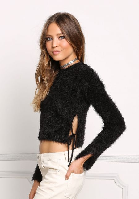 Black Fuzzy Knit Side Tie Crop Sweater Top