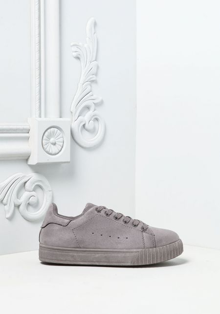 Light Grey Suedette Sneakers