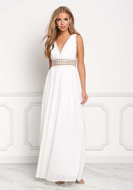 Ivory Chiffon Cut Out Waist Maxi Gown