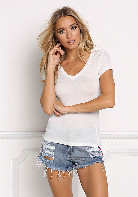 White Ribbed Knit V Neck Tee