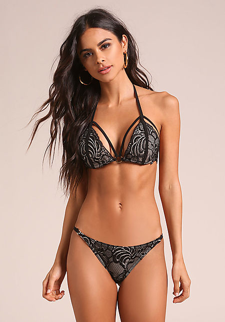 Black & Nude Lace Swimsuit Bikini Bottoms