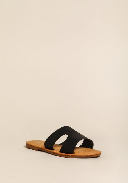 Black Leatherette Cut Out Sandals
