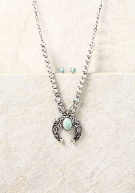 Silver Bead & Stone Chain Necklace