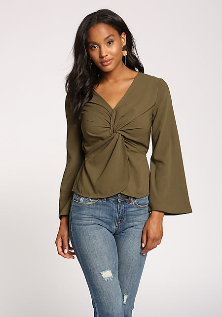 Olive Twisted Wide Sleeve Blouse