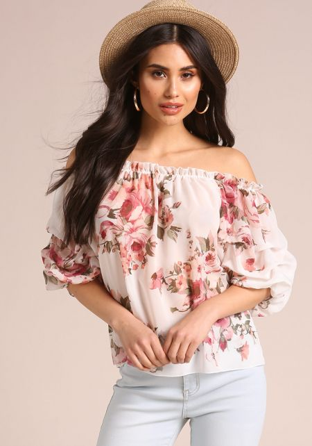 Ivory Rose Chiffon Off Shoulder Blouse