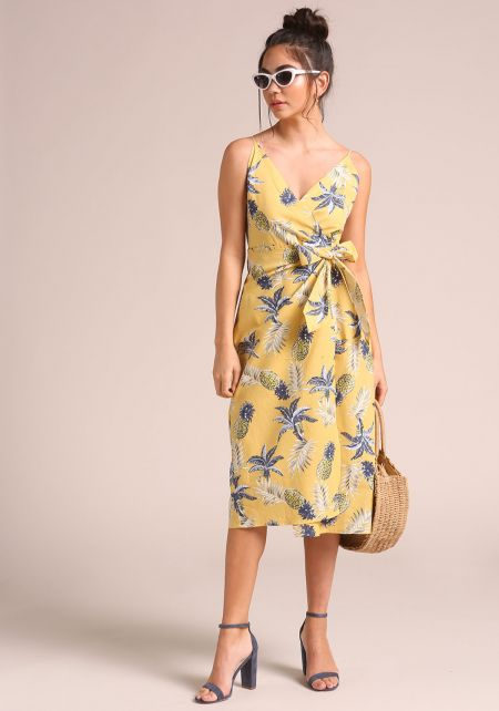 Yellow Pineapple Wrap Midi Dress