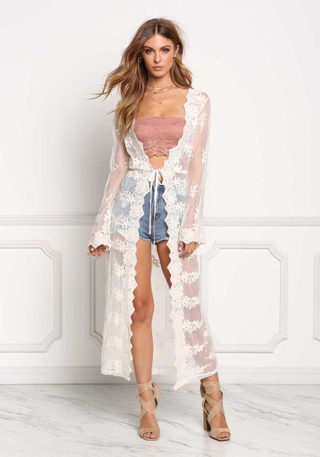 Ivory Floral Embroidered Lace Kimono