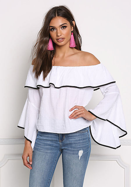 White Off Shoulder Bell Sleeve Blouse