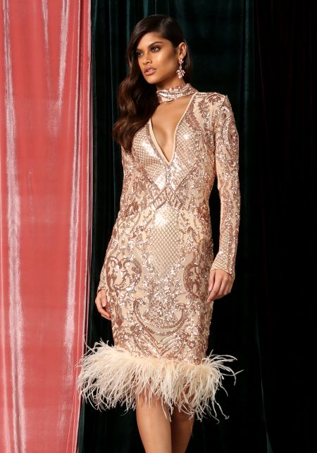 Rose Gold Sequin Faux Feather Choker Bodycon Dress