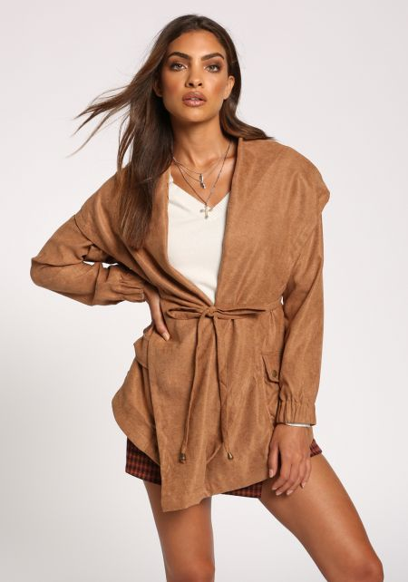 Camel Fold Over Hooded Waist Tie Jacket