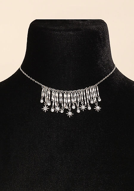 Silver Star Rhinestone Dangle Choker