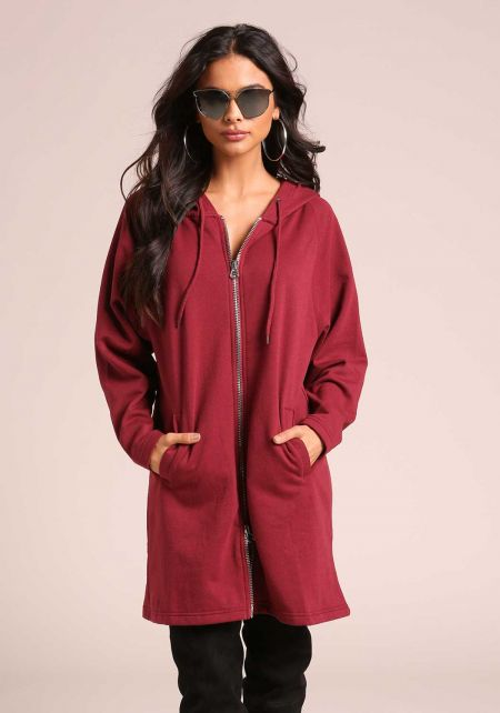 Burgundy Hooded Zip Up Tunic Sweater