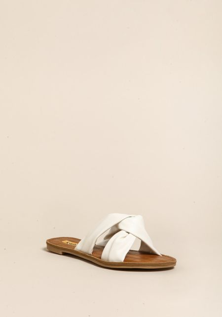 White Leatherette Knotted Sandals