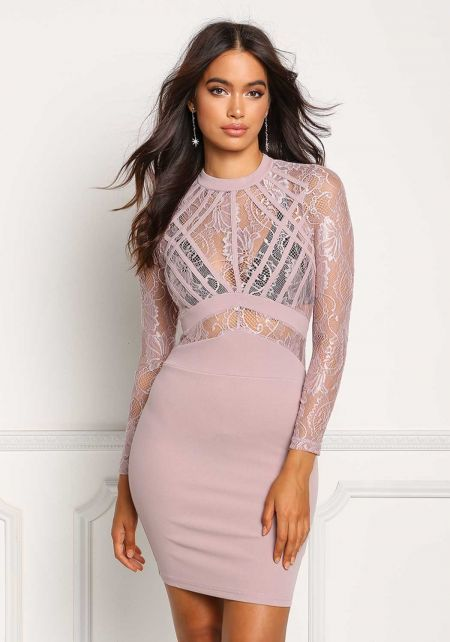 Mauve Floral Lace Knit Bodycon Dress