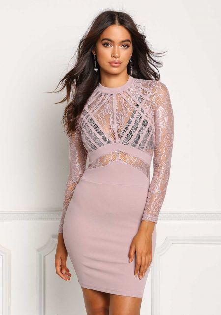 Mauve Floral Lace Knit Bodycon Dress