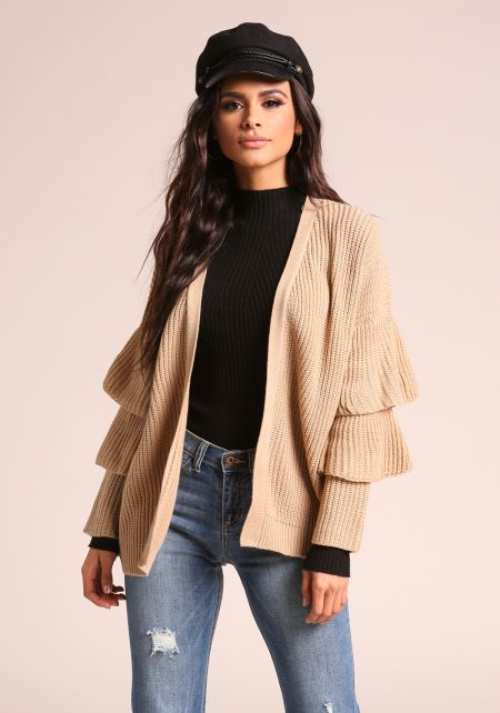 Taupe Tiered Bell Sleeve Knit Cardigan