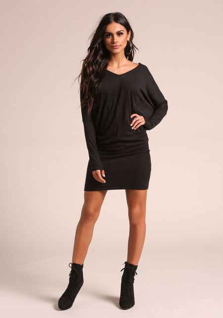 Black Ribbed Knit Dolman Dress