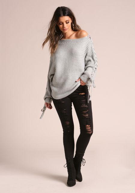 Grey Sleeve Lace Up Off Shoulder Sweater