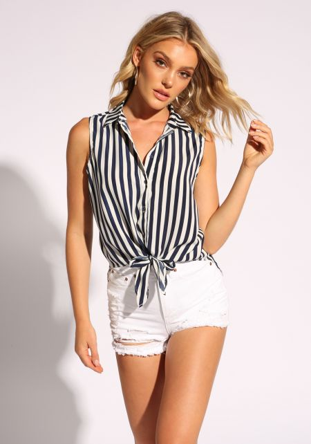White and Navy Collared Tie Front Tank Top