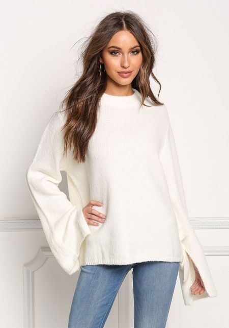 Ivory Soft Knit Bell Sleeve Sweater