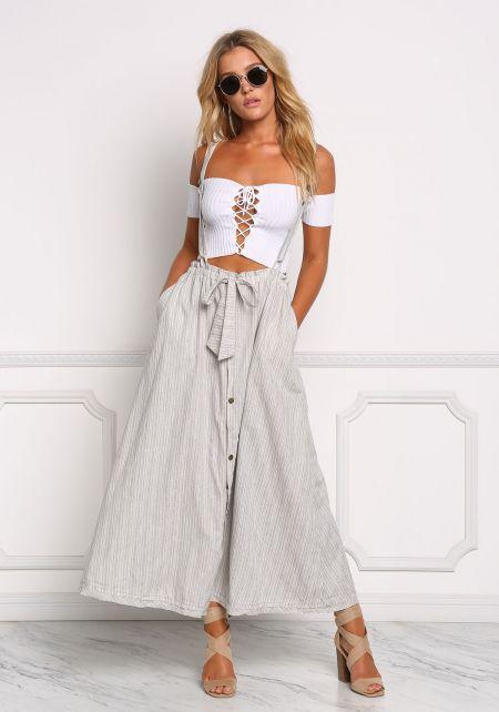 Grey Pinstripe Suspender Skirt Overalls
