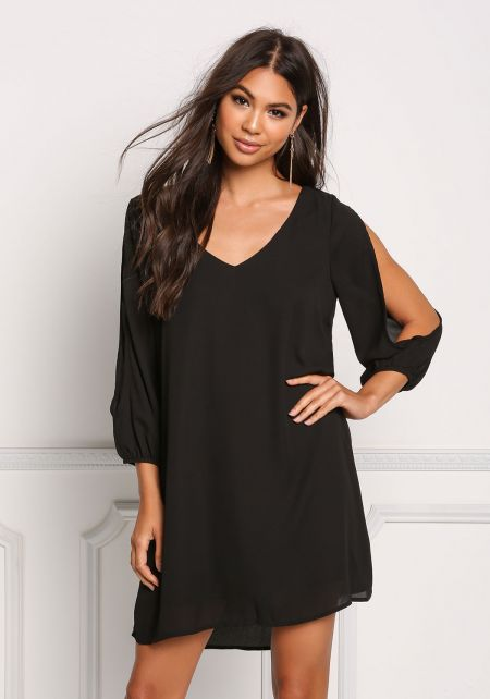 Black Sleeve Slit Chiffon Shift Dress