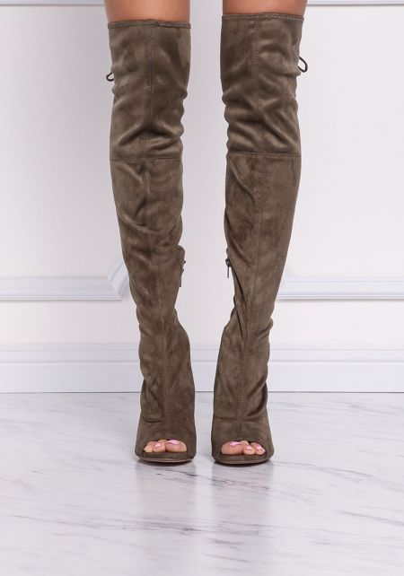 Olive Suedette Open Toe Over The Knee Boots