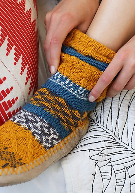 Mustard Thick Knit Printed Sock Slippers
