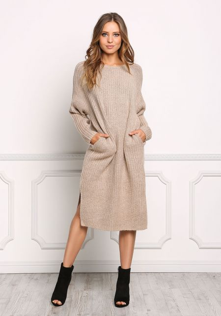 Taupe Thick Ribbed Knit Midi Shift Dress