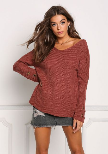 Dark Mauve Grommet Sleeve Thick Knit Sweater Top