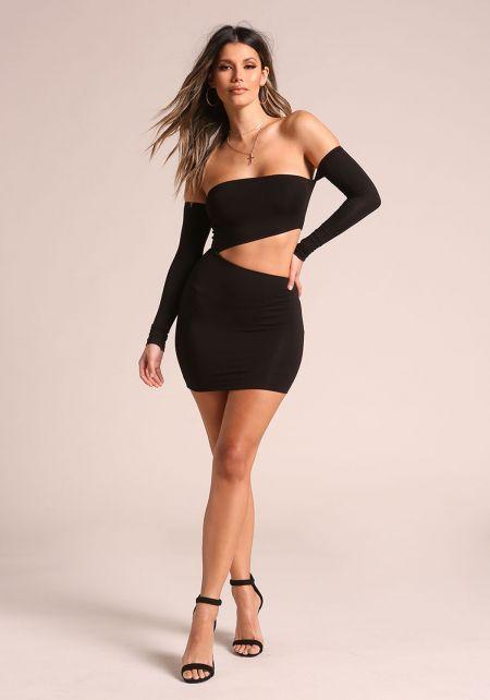 Black Waist Cut Out Off Shoulder Bodycon Dress