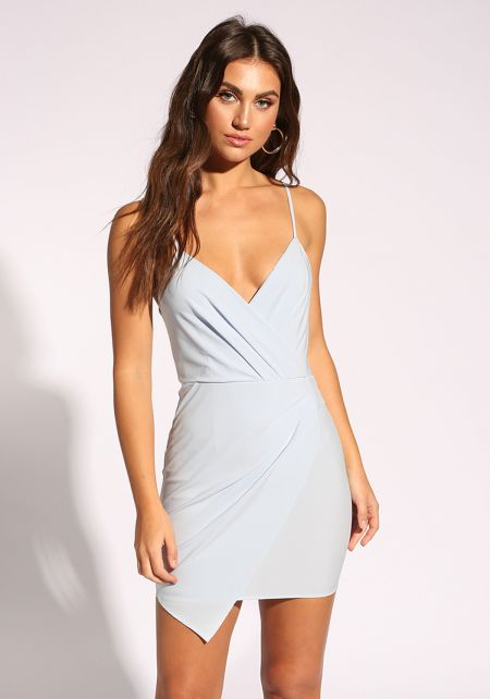 Sky Blue Pleated Layered Bodycon Dress
