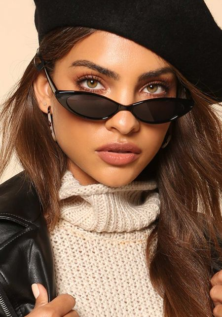 Black Skinny Oval Cat Eye Sunglasses