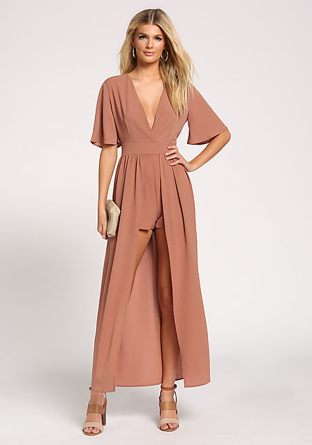 Taupe Pleated Plunge Maxi Romper