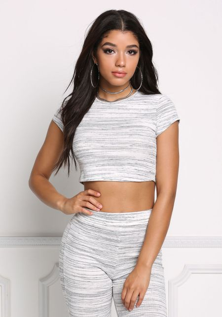 Black and Ivory Ribbed Knit Stripe Crop Top