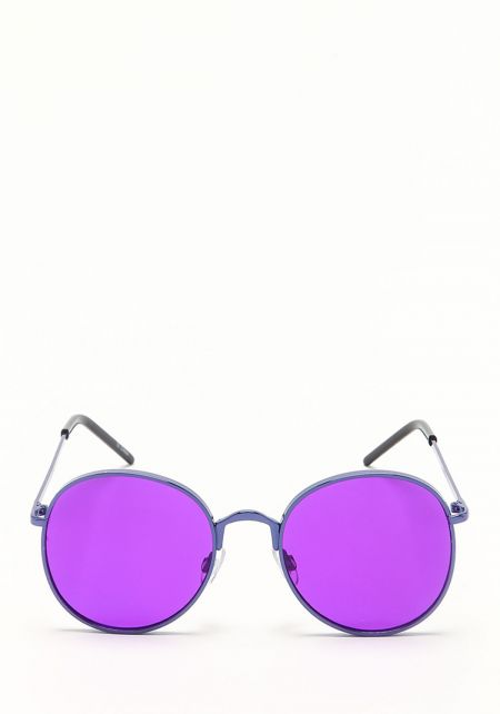 Zero UV Purple Round Aviator Sunglasses