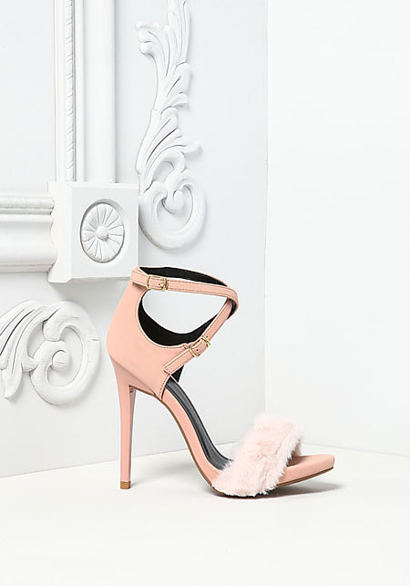 Blush Leatherette Faux Fur Ankle Strap Heels