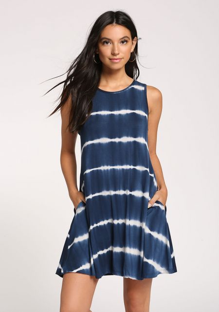 Navy Tie Dye Pocket Shift Dress