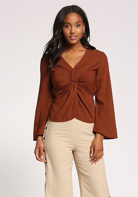 Merlot Twisted Wide Sleeve Blouse