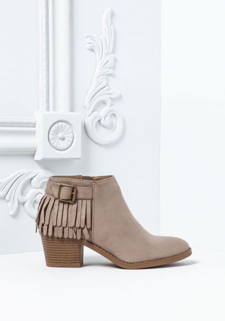 Stone Suedette Fringe Buckle Booties