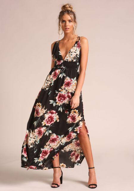 Black Floral Smocked Slit Maxi Dress