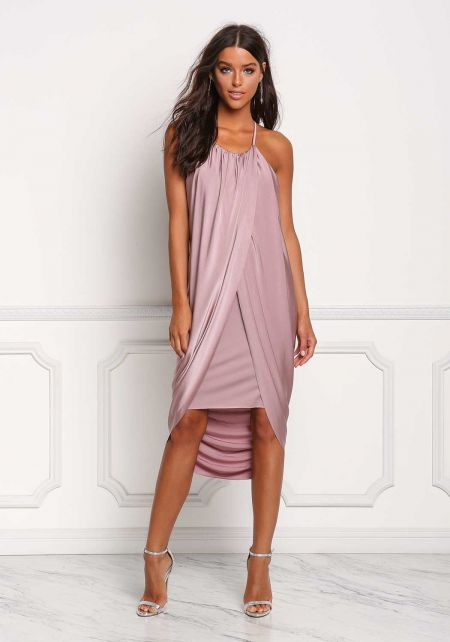 Mauve Lustrous Draped Surplice Hi-Lo Dress