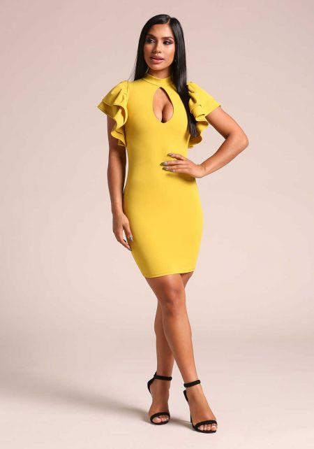 Lime Ruffle Puff Sleeve Keyhole Bodycon Dress