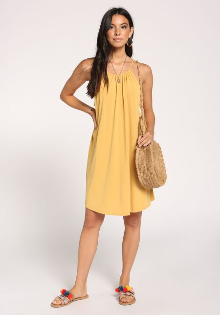 Mustard Tank Shift Knit Dress