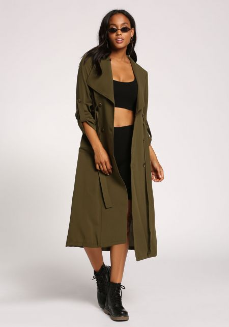 Olive Double Breasted Waist Tie Longlined Trench C