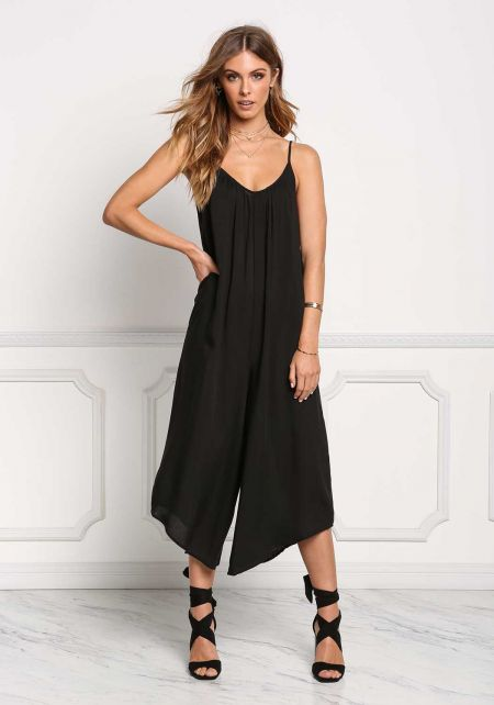 Black Wide Leg Cropped Jumpsuit