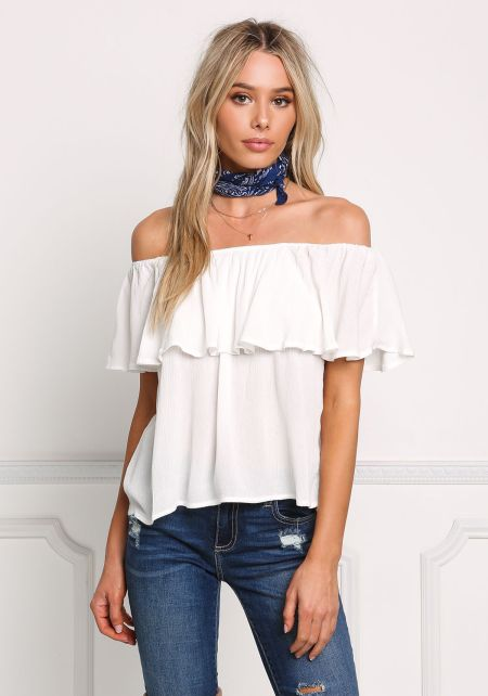 Off White Crepe Off Shoulder Layered Blouse